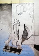 ציור של איש לבד בבית עם המחשב